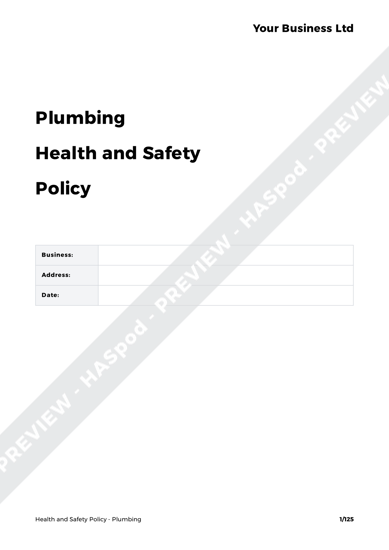 plumbing health and safety policy template