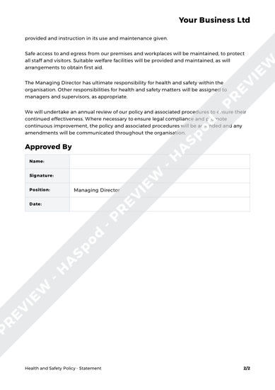 Health and Safety Policy Statement image 2