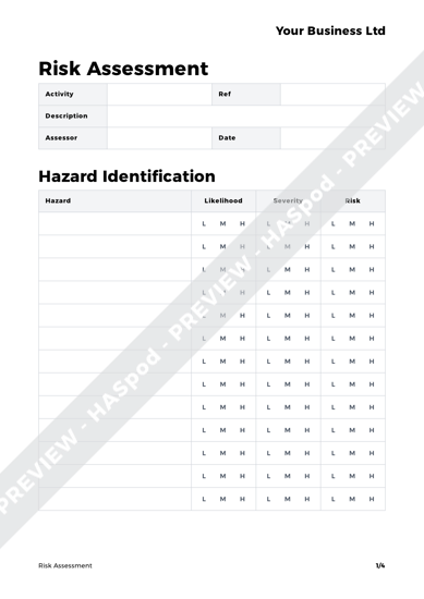 free risk assessment screenshot