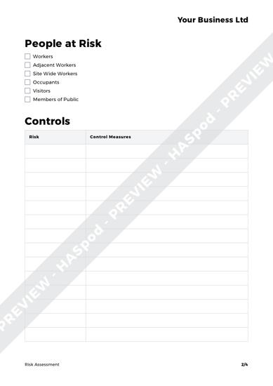 Risk Assessment Blank image 2