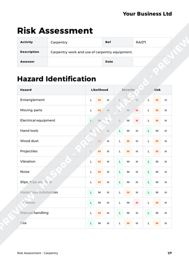 Risk Assessment Carpentry image 1