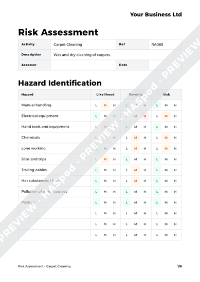 Risk Assessment Carpet Cleaning image 1