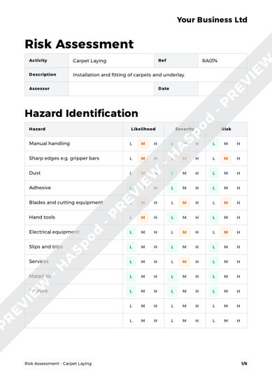 Risk Assessment Carpet Laying image 1