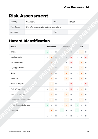 Risk Assessment Chainsaw image 1