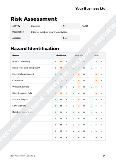Risk Assessment Cleaning image 1