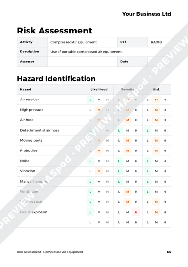 Risk Assessment Compressed Air Equipment image 1