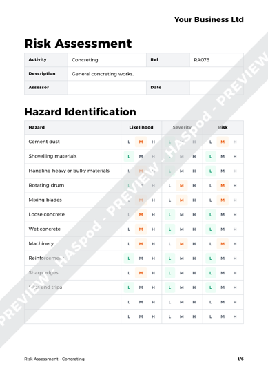 Risk Assessment Concreting image 1
