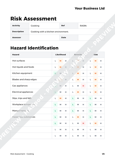 Risk Assessment Cooking image 1