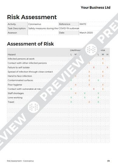 Risk Assessment Coronavirus image 1