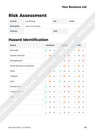 Risk Assessment Cut Off Saw image 1