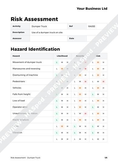 Risk Assessment Dumper Truck image 1