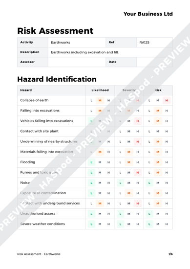 Risk Assessment Earthworks image 1