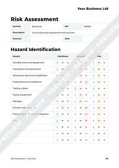 electrical risk assessment template