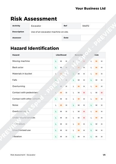 Excavator Risk Assessment Template