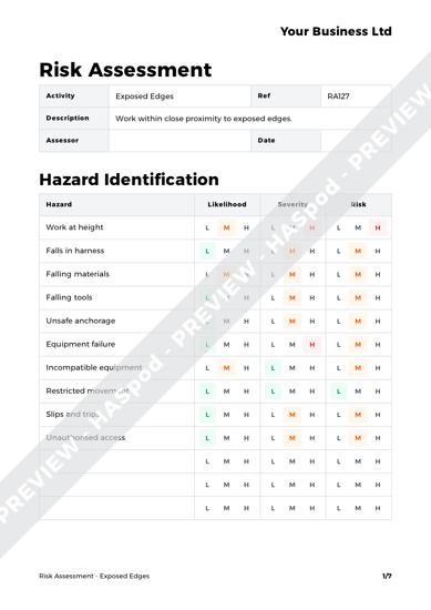 Risk Assessment Exposed Edges image 1