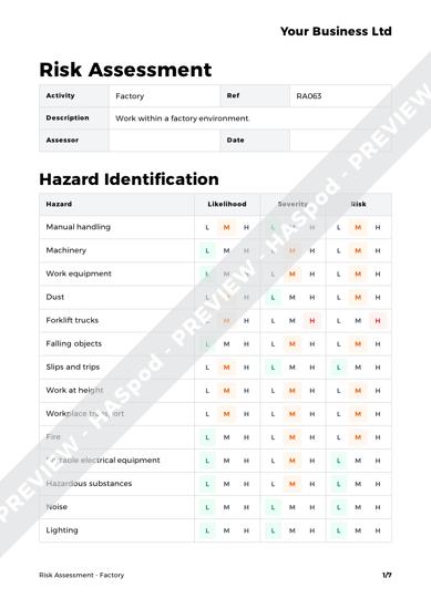 Factory Risk Assessment Template - HASpod