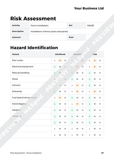 fence installation risk assessment template haspod