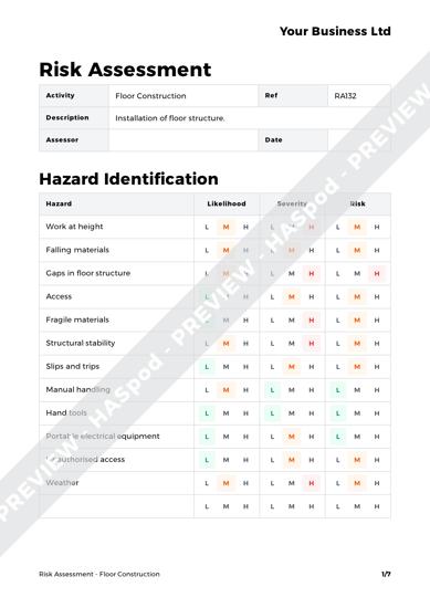 Risk Assessment Floor Construction image 1