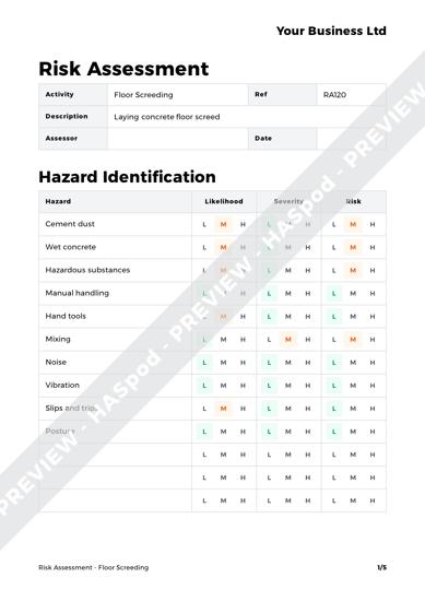 Risk Assessment Floor Screeding image 1