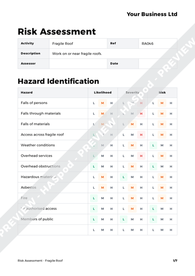 Risk Assessment Fragile Roof image 1