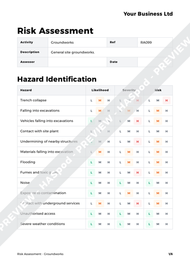 Risk Assessment Groundworks image 1