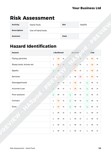 Risk Assessment Hand Tools image 1
