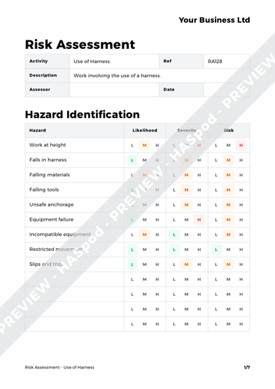 Risk Assessment Use of Harness image 1