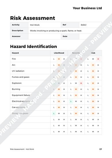 Risk Assessment Hot Work image 1