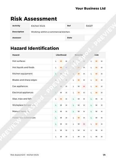 Risk Assessment Kitchen Work image 1
