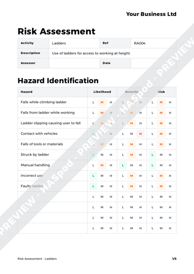 Risk Assessment Ladders image 1