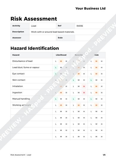 Risk Assessment Lead image 1