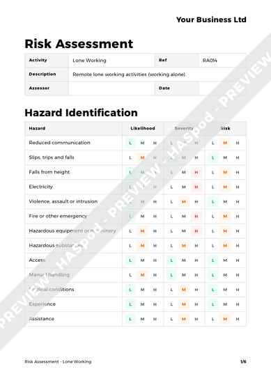Risk Assessment Lone Working image 1
