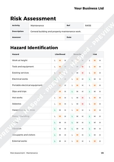 Risk Assessment Maintenance image 1