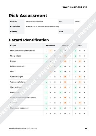 Risk Assessment Metal Stud Partition image 1
