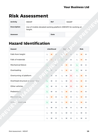 Risk Assessment MEWP image 1