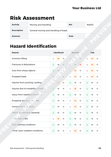 Risk Assessment Moving and Handling image 1