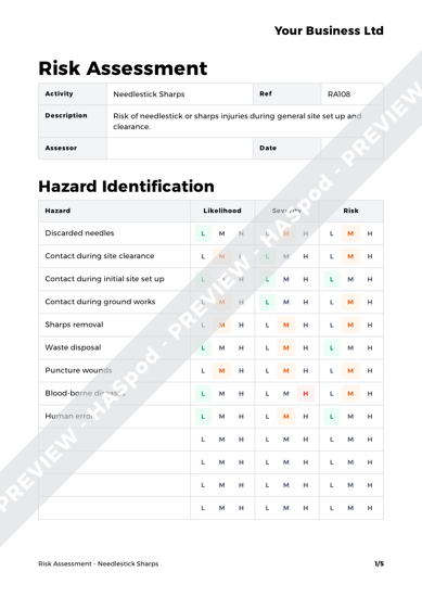 Risk Assessment Needlestick Sharps image 1
