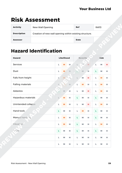 Risk Assessment New Wall Opening image 1