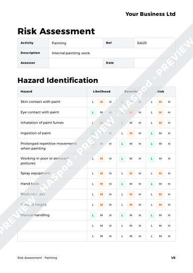 Risk Assessment Painting Image 1 ...  Point Of Contact Template