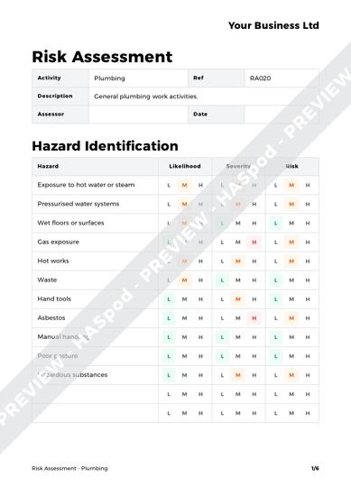 Risk Assessment Plumbing image 1