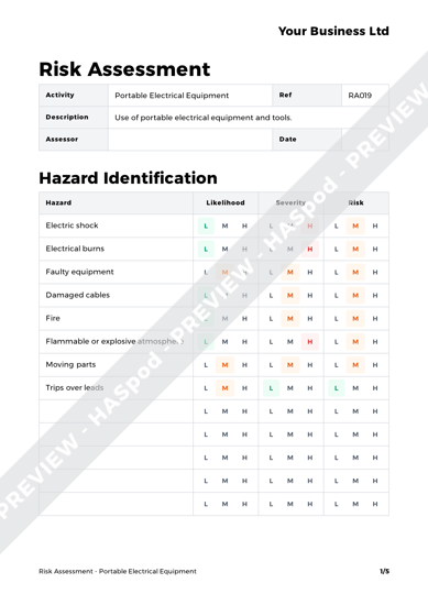 Risk Assessment Portable Electrical Equipment image 1