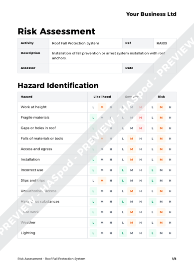 Risk Assessment Roof Fall Protection System image 1