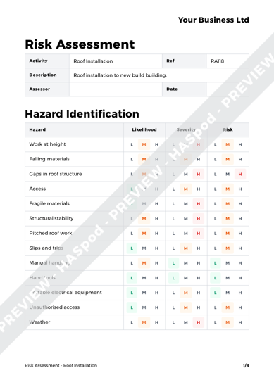 roof installation risk assessment template