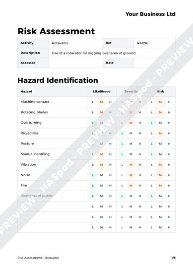Risk Assessment Rotavator image 1