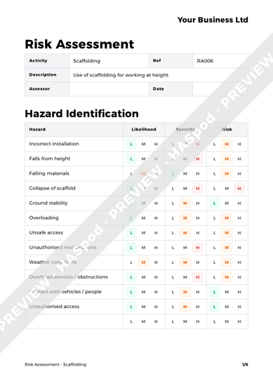 Risk Assessment Scaffolding image 1