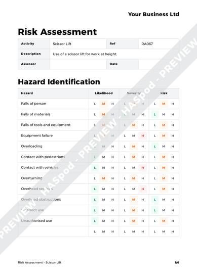Risk Assessment Scissor Lift image 1