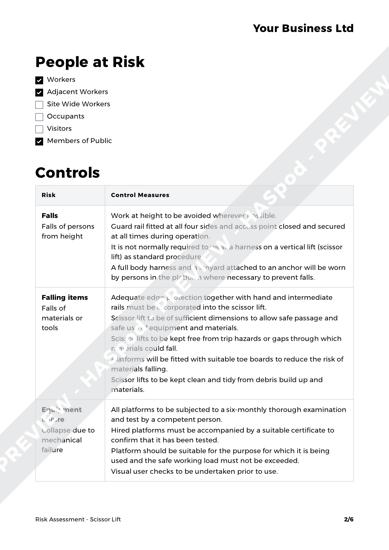 Risk Assessment Scissor Lift image 2