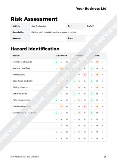 Risk Assessment Site Deliveries image 1