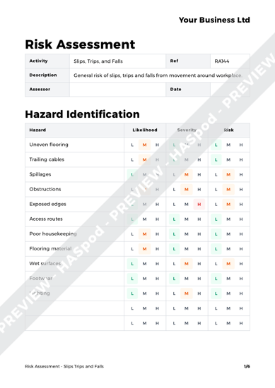 Risk Assessment Slips Trips and Falls image 1