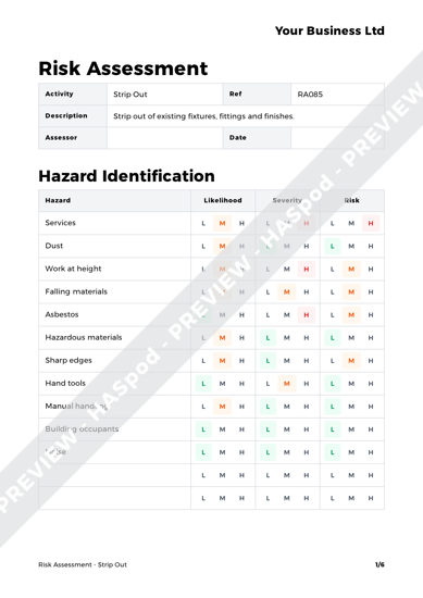 Risk Assessment Strip Out image 1